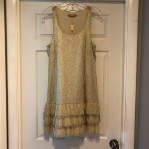 NWT Alice and Olivia Gold and Ivory Lace Dress